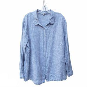 Eileen Fisher Linen Button Down Shirt Chambray 1X